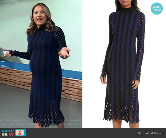 Turtleneck Merino Wool Midi Dress by Diane von Furstenberg worn by Ginger Zee (Ginger Zee) on Good Morning America