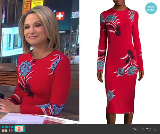 Floral Sheath Dress by Diane von Furstenberg worn by Amy Robach on Good Morning America