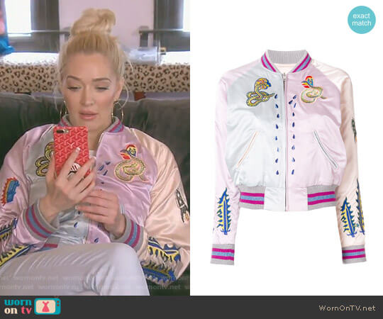 Embroidered Snakes Bomber Jacket by Diesel worn by Erika Girardi  on The Real Housewives of Beverly Hills