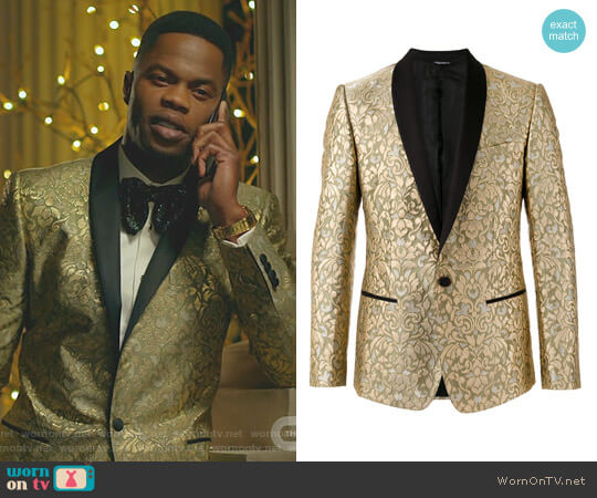 Paisley Embossed Blazer by Dolce & Gabbana worn by Jeff Colby (Sam Adegoke) on Dynasty