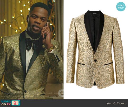 Paisley Embossed Blazer by Dolce & Gabbana worn by Sam Adegoke on Dynasty