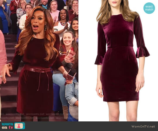 Three-Quarter Bell Sleeve Velvet Sheath Dress by Donna Morgan worn by Wendy Williams  on The Wendy Williams Show