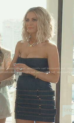 Dorit's belted denim bustier dress on The Real Housewives of Beverly Hills