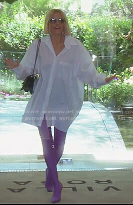 Dorit's white oversized shirt and purple boots on The Real Housewives of Beverly Hills
