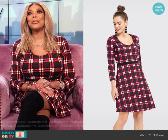 Windowpane Knit Dress by Draper James worn by Wendy Williams  on The Wendy Williams Show