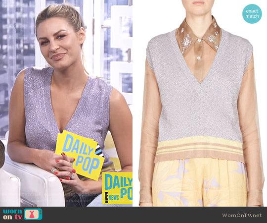 Sleeveless Metallic Knit Pullover by Dries Van Noten worn by Morgan Stewart on E! News