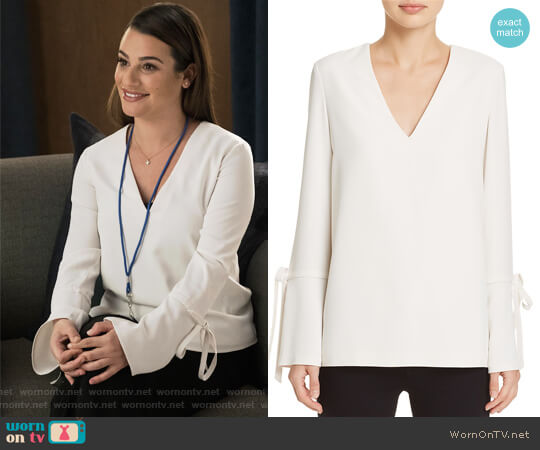 Tie-Detail Flare-Cuff Top by Dylan Gray worn by Lea Michele on The Mayor