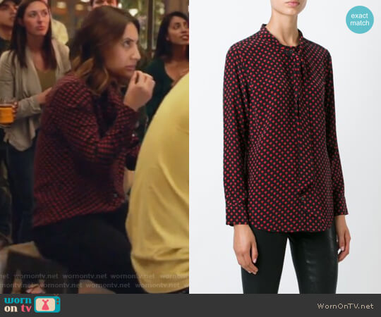 Kate Moss for Equipment heart blouse by Equipment worn by Ana Torres (Francia Raisa) on Grown-ish