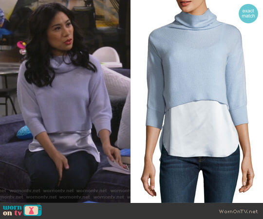 Claudetta Cashmere & Silk Combo Sweater by Elie Tahari worn by Eve Roberts (Liza Lapira) on 9JKL