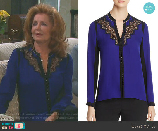 'Denise' Blouse by Elie Tahari  worn by Suzanne Rogers on Days of our Lives