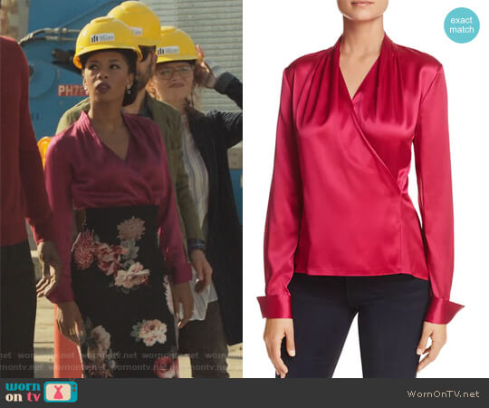 Shelly Faux-Wrap Silk Top by Elie Tahari worn by Catherine Wilder (Angel Parker) on Marvels Runaways