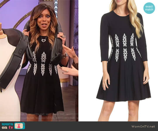 2296e5c7b Three-Quarter Sleeve Fit & Flare Dress by Eliza J worn by Wendy Williams on