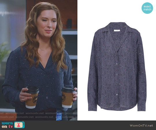 'Adalyn' Silk Top in Blue Mood by Equipment worn by Briga Heelan on Great News