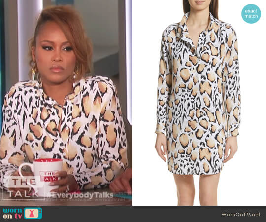 Freda Animal Print Silk Shirtdress by Equipment worn by Eve on The Talk