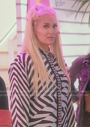 Erika's black and white vs print shirt on The Real Housewives of Beverly Hills