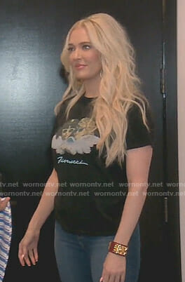 Erika's black angel print t-shirt on The Real Housewives of Beverly Hills