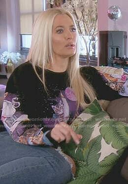 Erika's black cat print sweatshirt on The Real Housewives of Beverly Hills