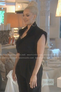 Erika's black zip front jumpsuit on The Real Housewives of Beverly Hills