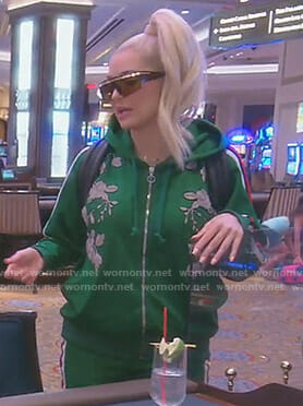 Erika's green floral tracksuit on The Real Housewives of Beverly Hills