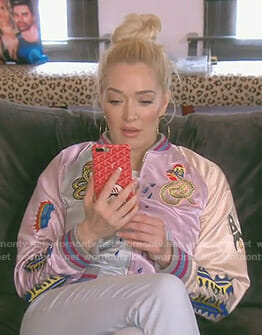 Erika's pink embroidered snake bomber jacket on The Real Housewives of Beverly Hills