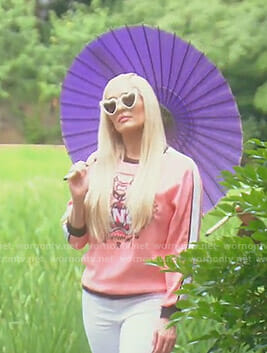 Erika's pink tiger logo print sweatshirt on The Real Housewives of Beverly Hills
