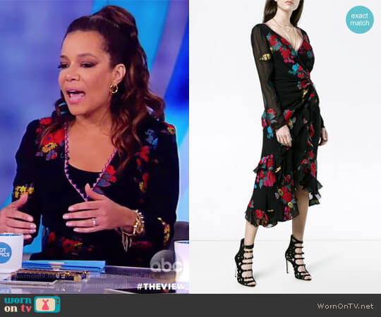 Floral-Print Silk Faux-Wrap Midi Cocktail Dress by Etro worn by Sunny Hostin (Sunny Hostin) on The View