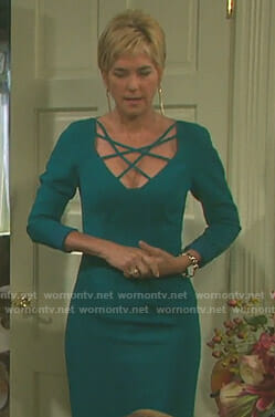 Eve's green strappy front dress on Days of our Lives