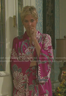 Eve's pink floral robe on Day of our Lives