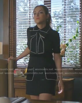 Fallon's black bow dress with pearls on Dynasty