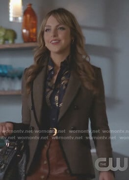 Fallon's grey blazer and brown mini skirt on Dynasty