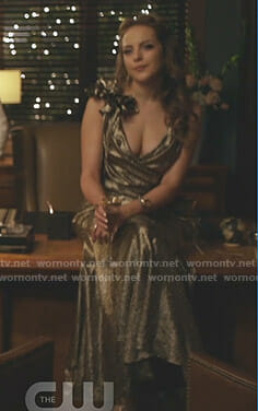 Fallon's metallic flower detailed gown on Dynasty