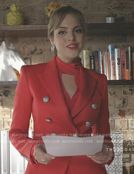 Fallon's red double breasted blazer on Dynasty