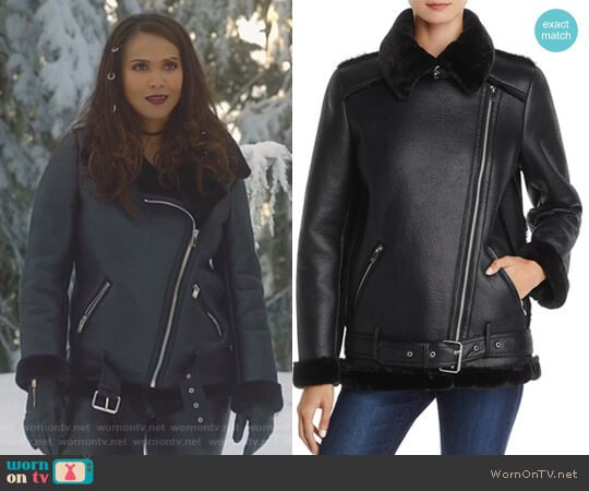 Faux-Shearling Moto Jacket by Aqua worn by Lesley-Ann Brandt on Lucifer