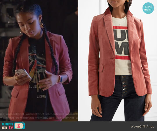 Classic cotton-blend velvet blazer by Frame worn by Zoey Johnson (Yara Shahidi) on Grown-ish