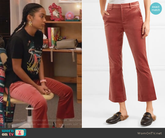 Cropped cotton-blend velvet flared pants by Frame worn by Zoey Johnson (Yara Shahidi) on Grown-ish