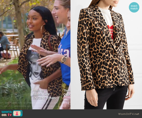 Leopard-print cotton-blend velvet blazer by Frame worn by Zoey Johnson (Yara Shahidi) on Grown-ish