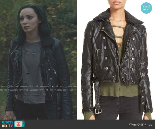 'Ashville' Faux Leather Biker Jacket by Free People worn by Lorna Dane (Emma Dumont) on The Gifted