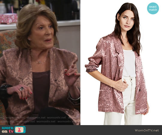 Silky Jacquard Blazer by Free People worn by Judy Roberts (Linda Lavin) on 9JKL