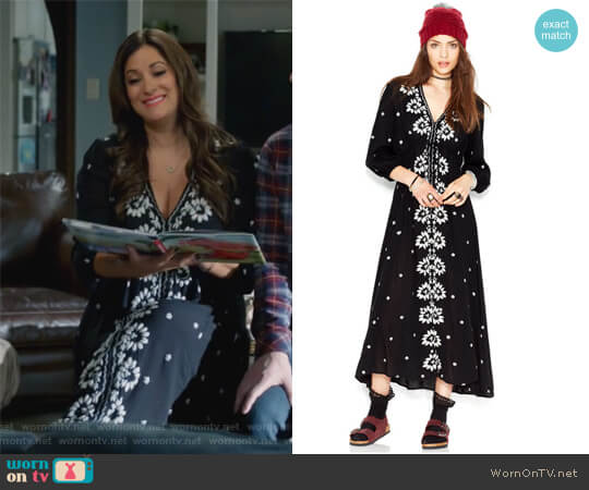 Embroidered Fable Dress by Free People worn by Angelique Cabral on Life in Pieces