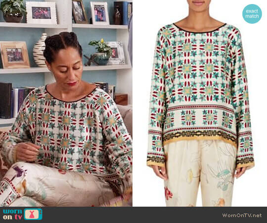 Giada Forte Azulejo Floral Cotton-Silk Blouse worn by Rainbow Johnson (Tracee Ellis Ross) on Blackish