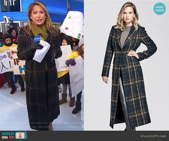 'Jayla' Brushed Plaid Coat by Guess worn by Ginger Zee  on Good Morning America