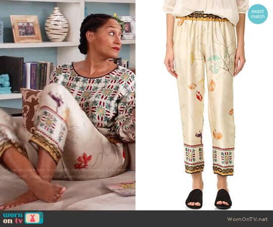 Giada Forte Silk Senorita Pants worn by Rainbow Johnson (Tracee Ellis Ross) on Blackish