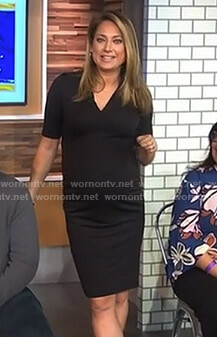 Ginger's black v-neck maternity dress on Good Morning America
