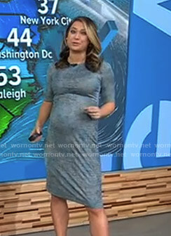 Ginger's blue printed maternity dress on Good Morning America