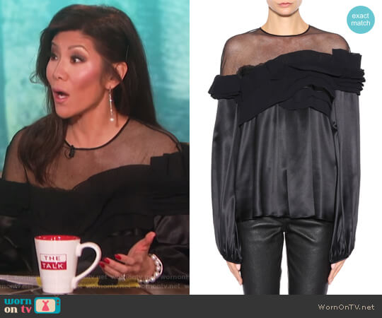 Silk-satin top by Givenchy worn by Julie Chen (Julie Chen) on The Talk