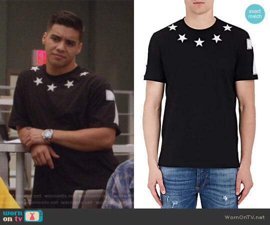 Star-Appliqued Cotton Jersey T-Shirt by Givenchy worn by Vivek Shah (Jordan Buhat) on Grown-ish