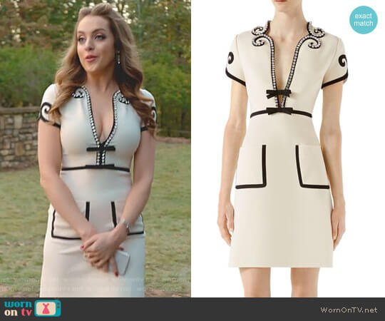 Crystal-Trim Jersey V-Neck Dress by Gucci worn by Fallon Carrington (Elizabeth Gillies) on Dynasty
