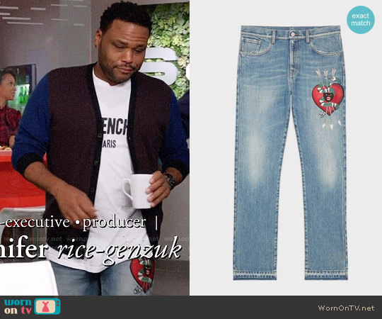 Gucci Heart Embroidered Jeans worn by Anthony Anderson on Blackish