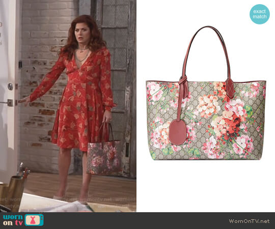 Medium GG Blooms Reversible Canvas & Leather Tote by Gucci worn by Debra Messing on Will & Grace