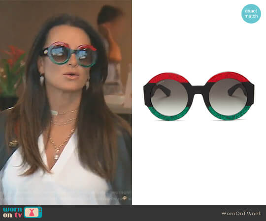 Oversized Round Gradient Sunglasses by Gucci worn by Kyle Richards  on The Real Housewives of Beverly Hills